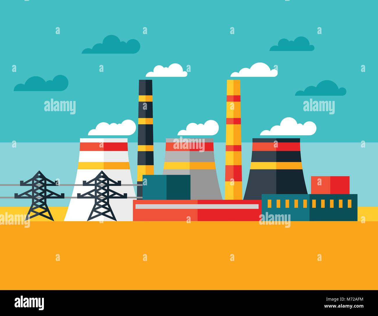 Illustration Of Industrial Power Plant In Flat Style Stock Vector Image Art Alamy