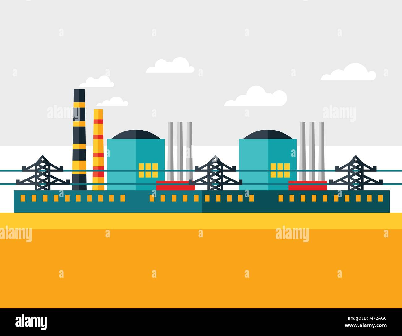 Illustration Of Industrial Nuclear Power Plant In Flat Style Stock Vector Image Art Alamy