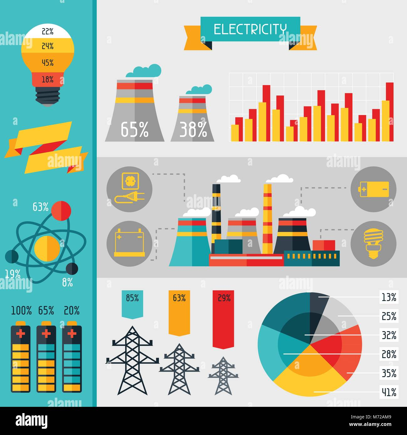 Electricity set of industry power infographic in flat style - Stock Image