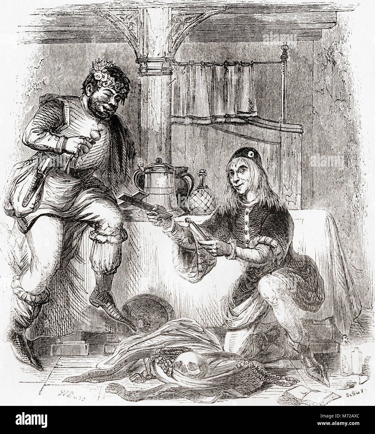 Sumpnour and Pardoner.  From Old England: A Pictorial Museum, published 1847. - Stock Image