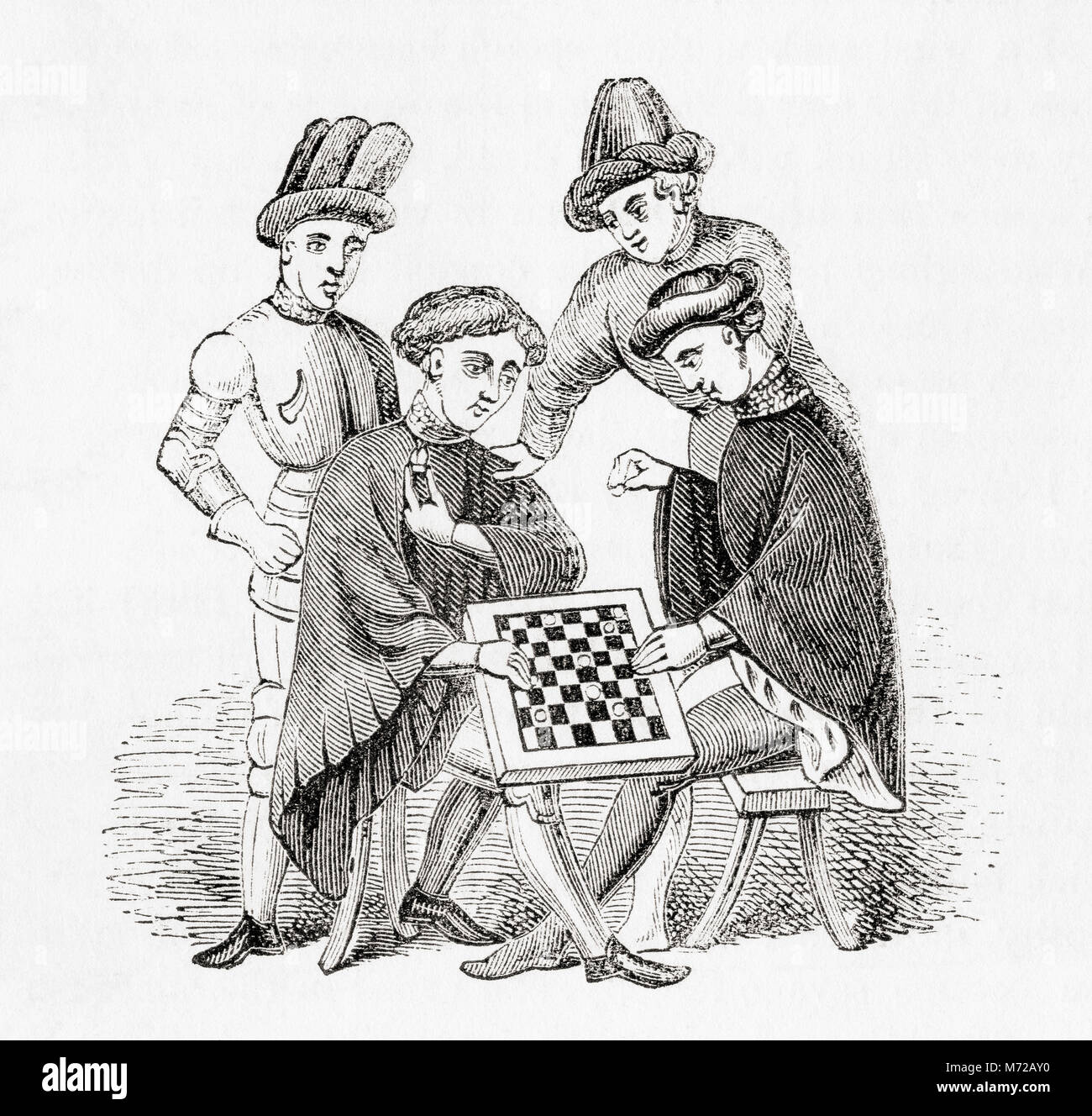 Playing draughts in the Middle Ages.  From Old England: A Pictorial Museum, published 1847. - Stock Image