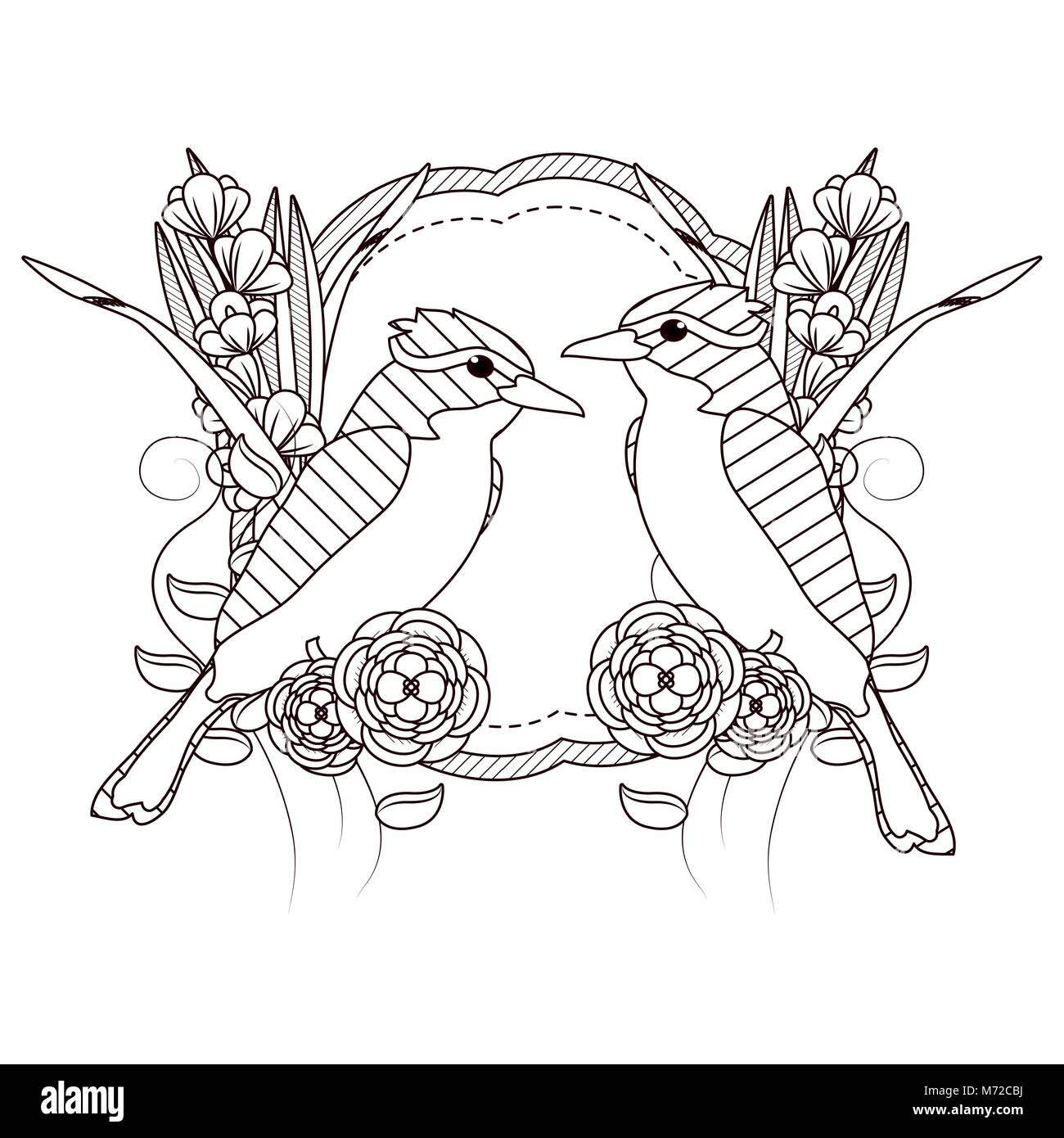 Beautiful Birds Drawings On Black And White Stock Vector Image Art Alamy
