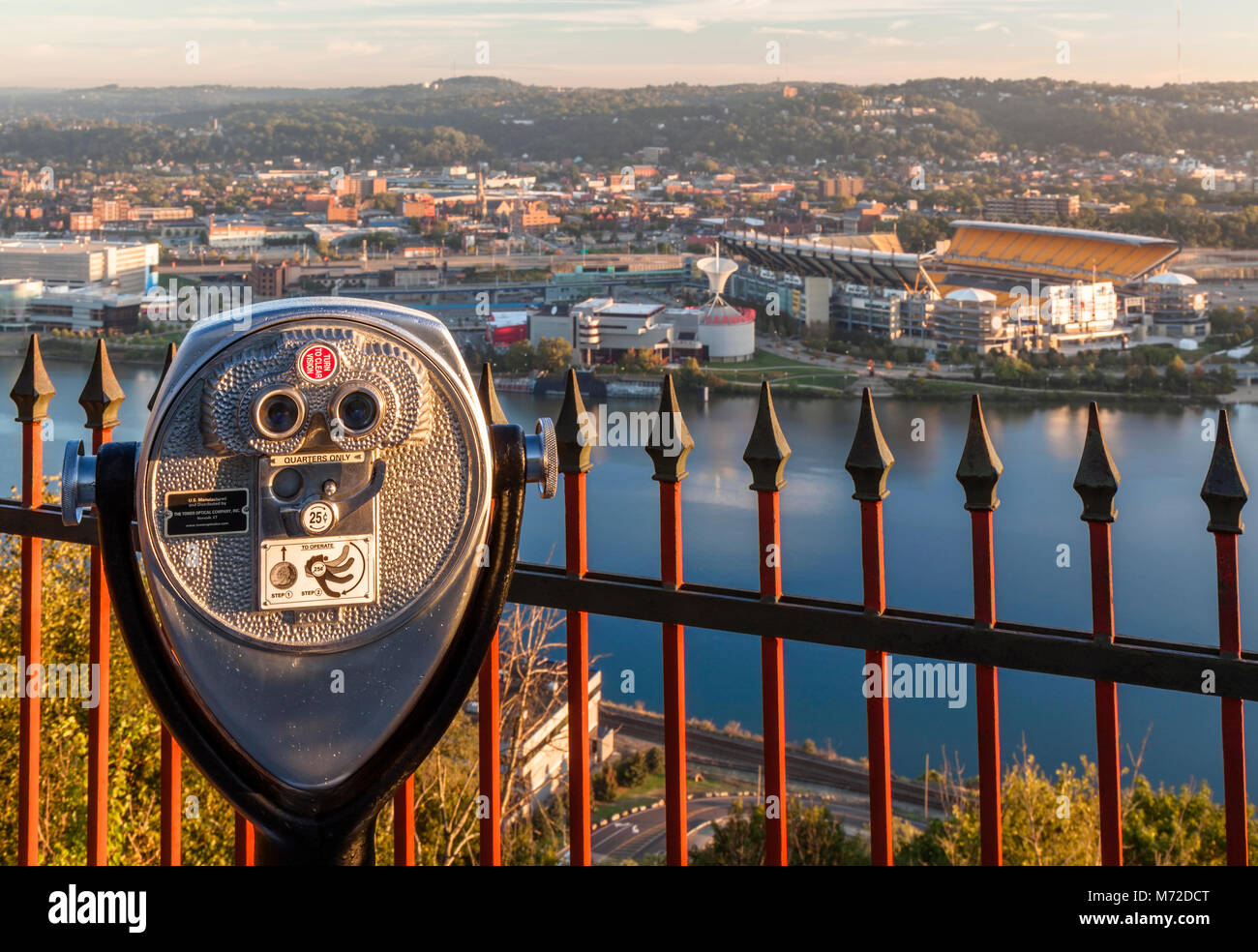 A tower viewer overlooking the city in Pittsburgh, Pennsylvania, USA. - Stock Image