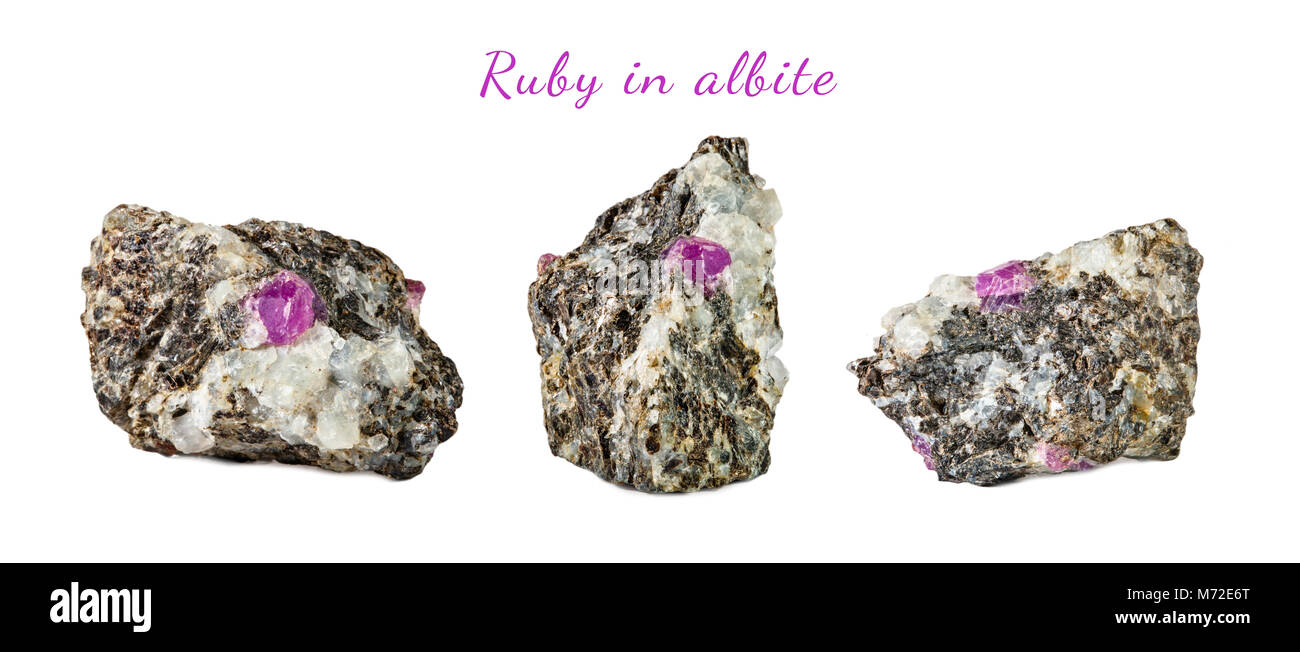 Macro shooting of natural gemstone. Raw mineral ruby in albite. Karelia. Isolated object on a white background. - Stock Image