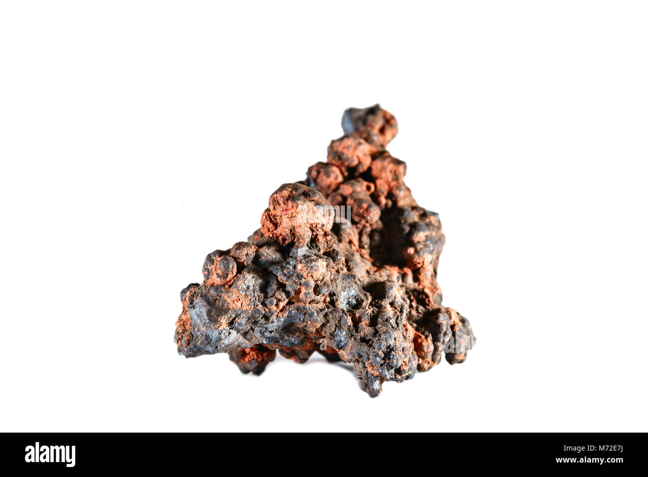 Macro shooting of natural gemstone. The raw mineral is goethite. Morocco. Isolated object on a white background. - Stock Image
