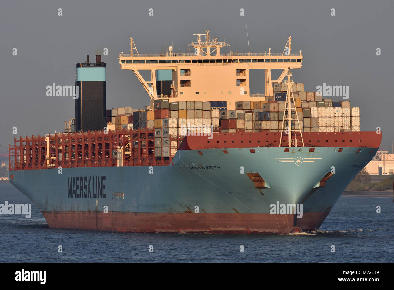 Trilple-E Containervessel Mayview Maersk outbound from Hamburg - Stock Image