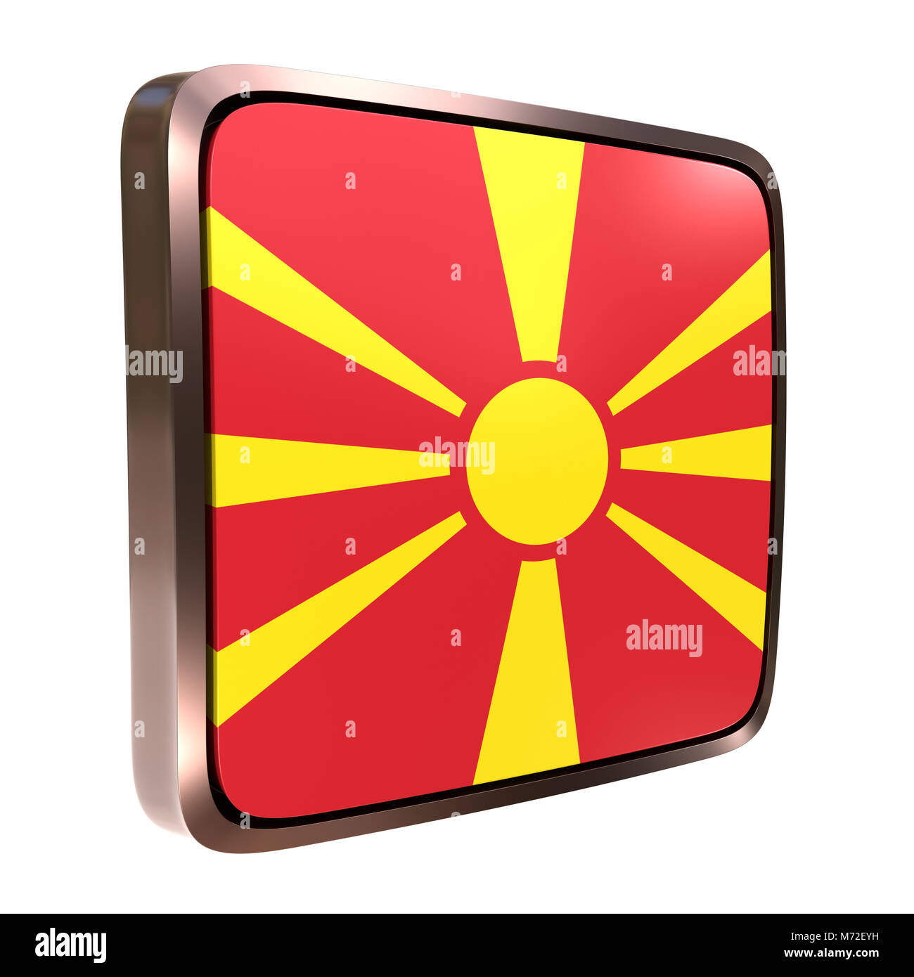 3d rendering of a Macedonia flag icon with a metallic frame. Isolated on white background. - Stock Image