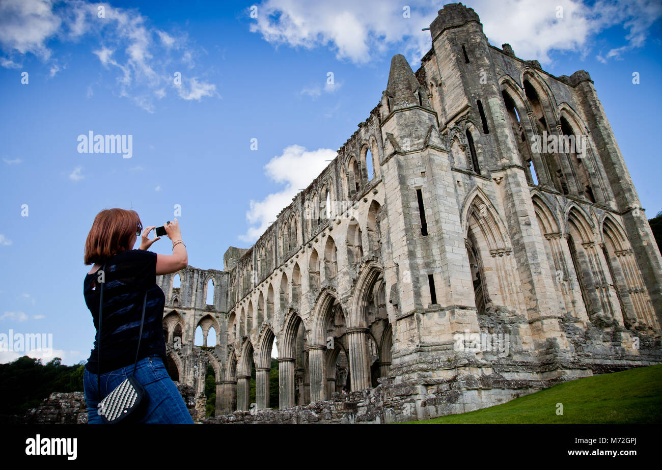 Rievaulx Abbey the first Cistercian monastery in the north of England, now the remains are a tourist attraction - Stock Image