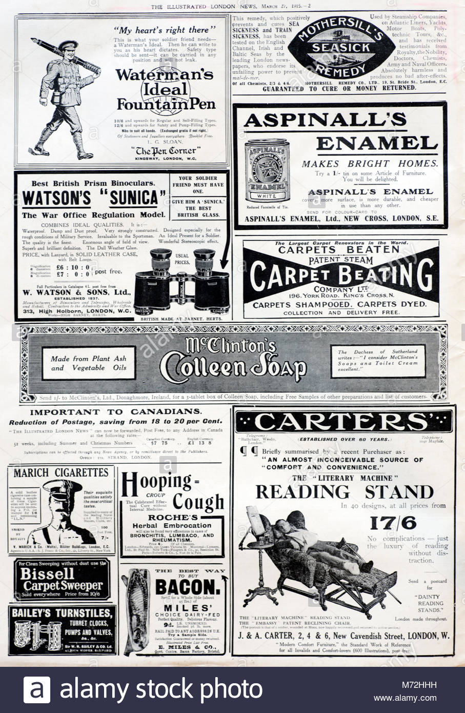 Vintage Illustrated London News magazine page with adverts 1915 - Stock Image