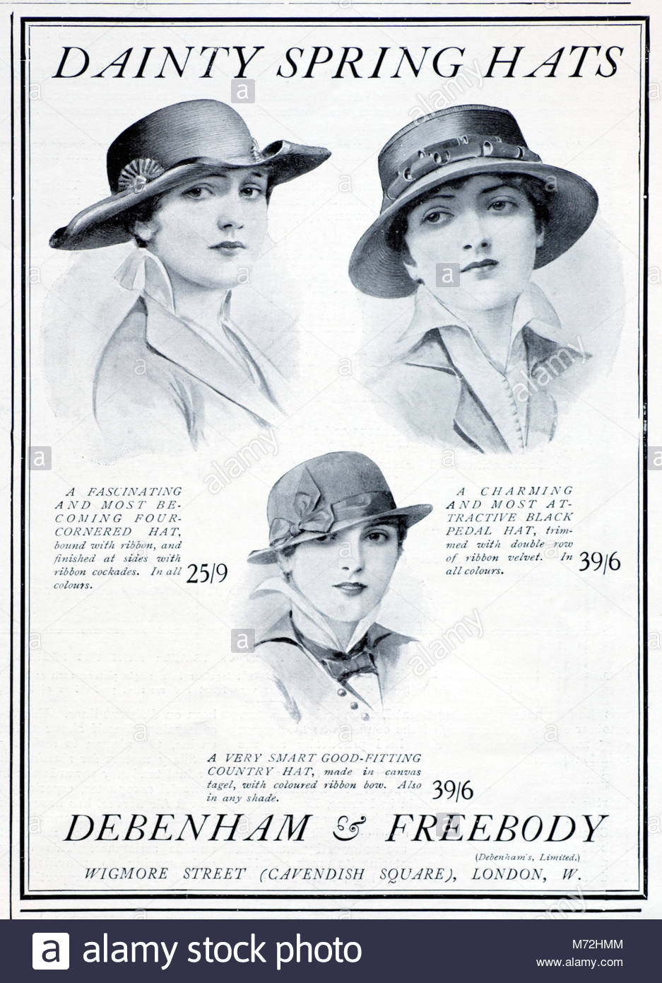 Debenham & Freebody Dainty Spring Hats vintage advertising from 1915 - Stock Image