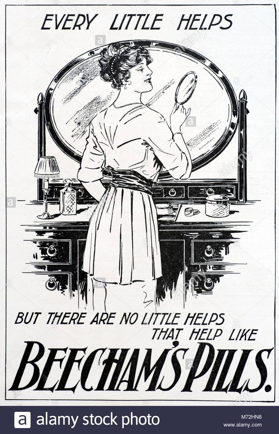 Beecham's Pills vintage advertising 1915 - Stock Image