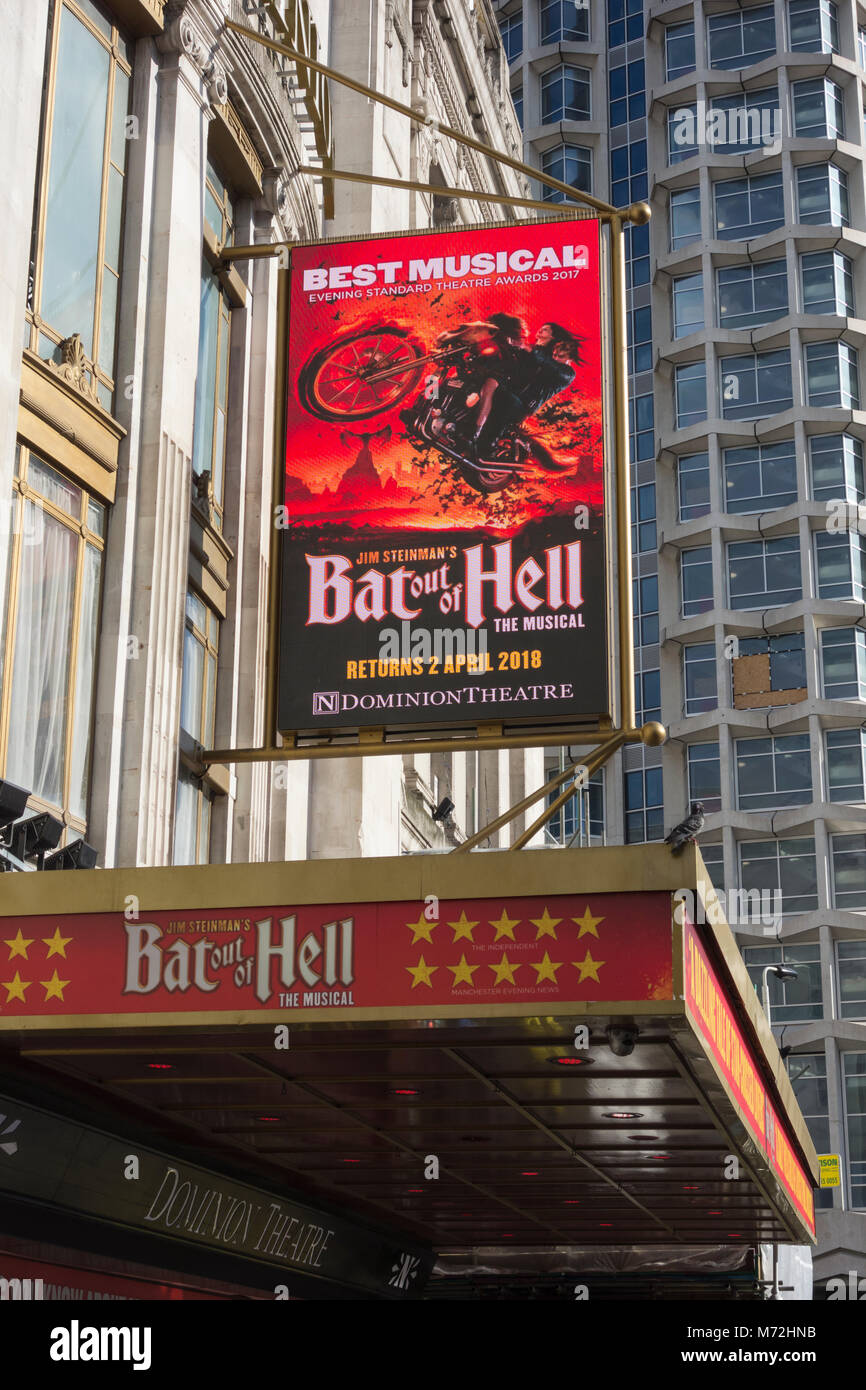 Jim Steinman's Bat Out of Hell at the Dominion Theatre, Tottenham Court Road, London, UK, - Stock Image