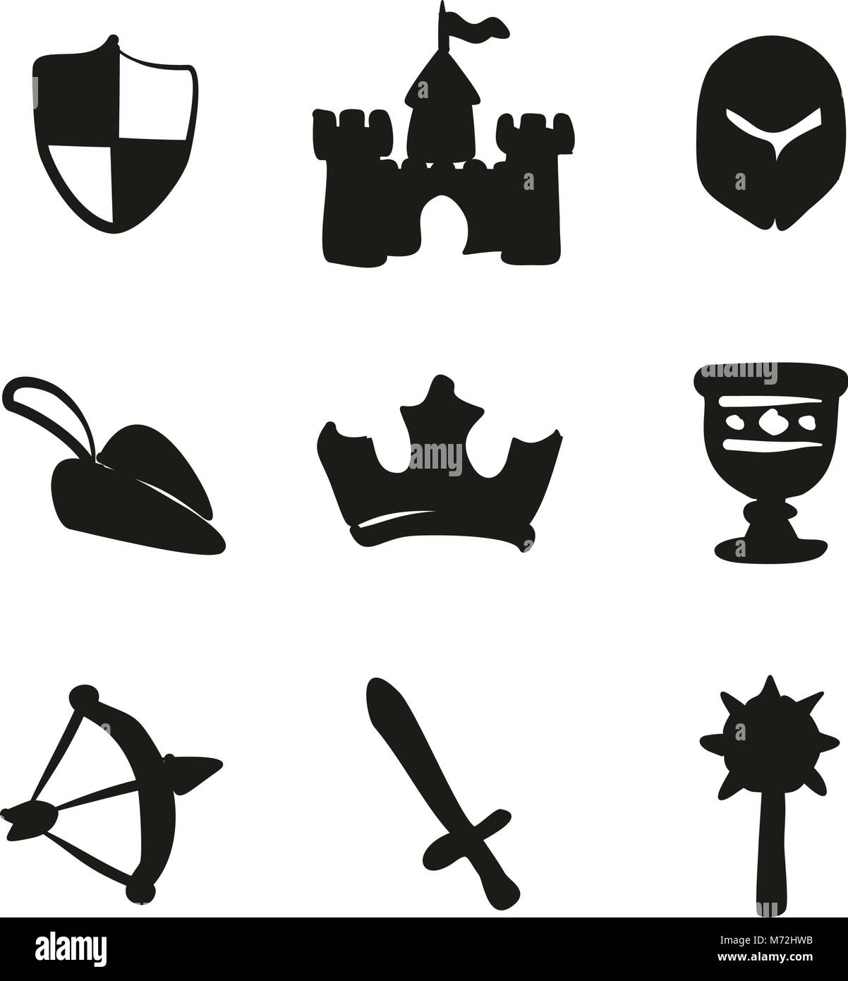 Medieval Icons Freehand Fill - Stock Vector