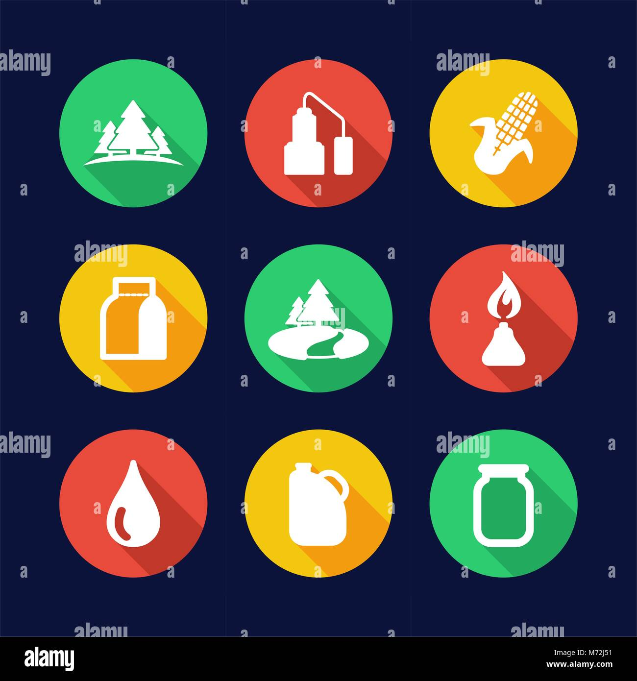 Moonshine Icons Flat Design Circle - Stock Image