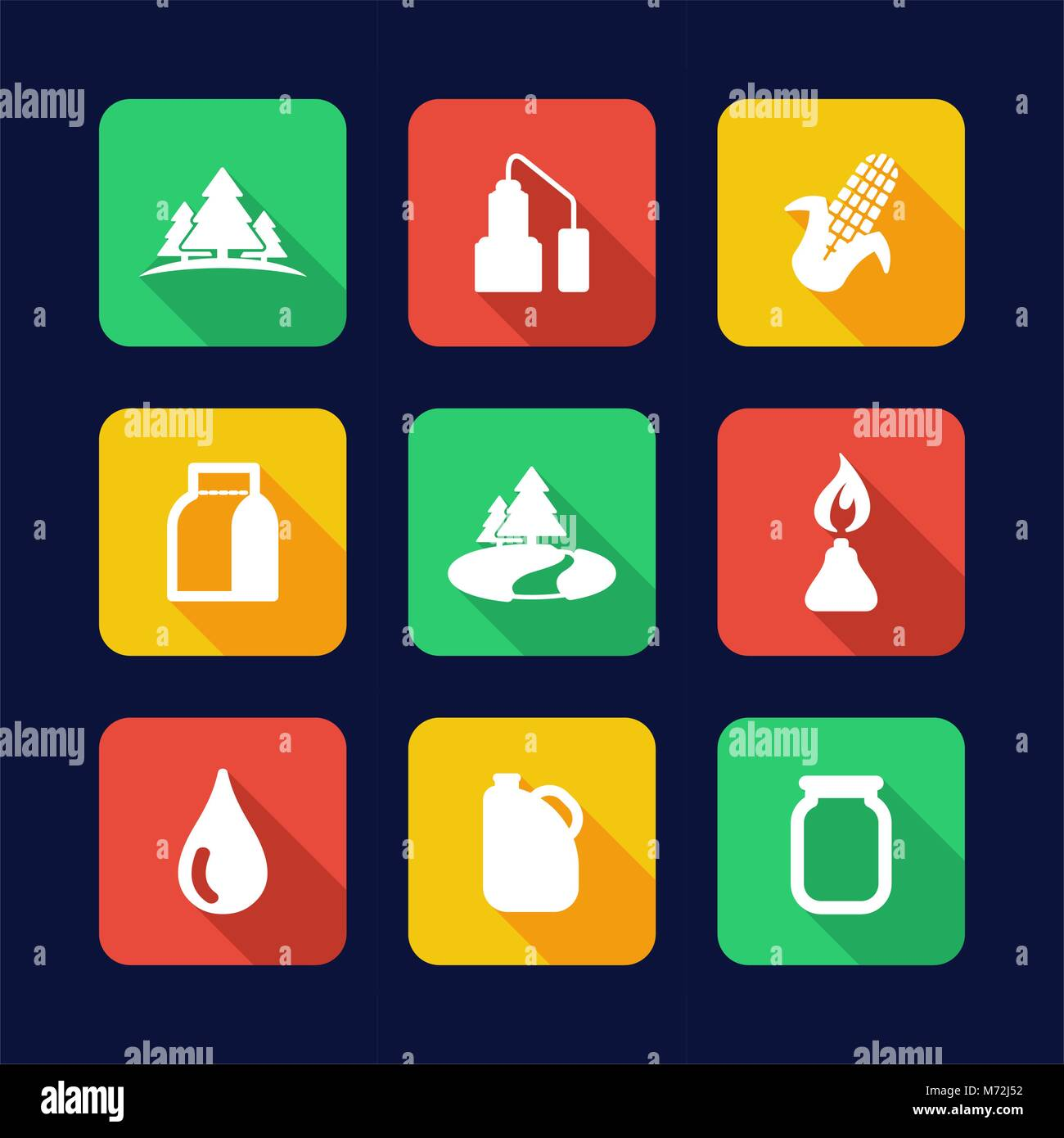 Moonshine Icons Flat Design - Stock Image
