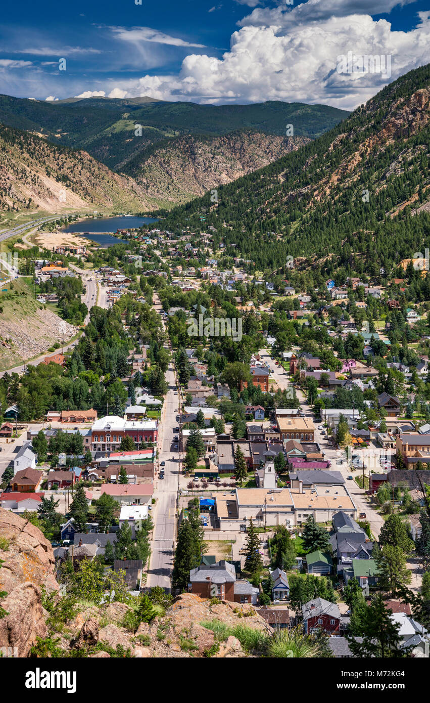 Town of Georgetown, Rocky Mountains, Colorado, USA, aerial view from Guanella Pass Road - Stock Image