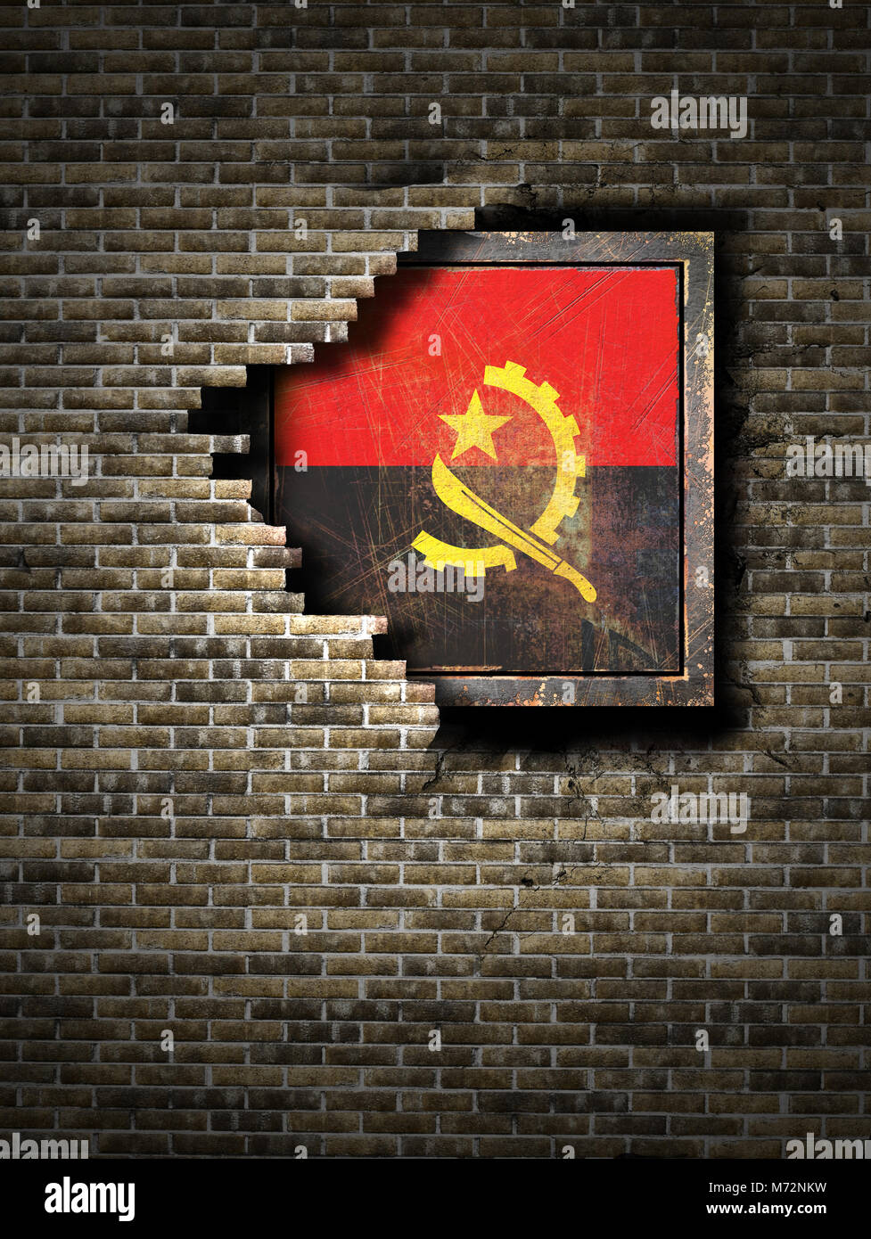 3d rendering of an Angola flag over a rusty metallic plate embedded on an old brick wall - Stock Image