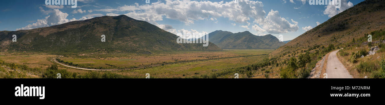 Typical kart landscape of the Popovo field with sinking river Trebinja in outhern Bosnia and Herzegovina - Stock Image