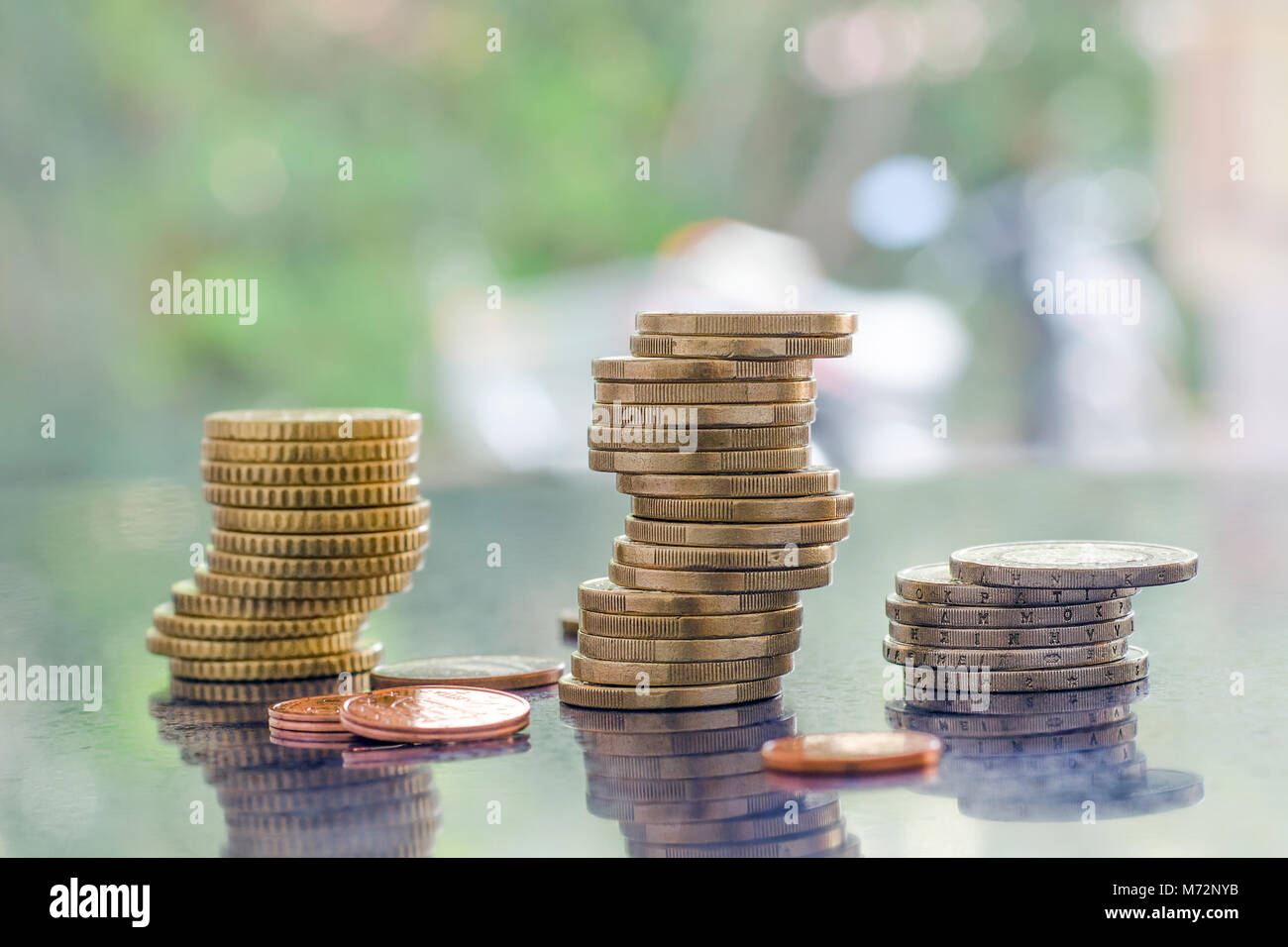 Stack of greek euro coins - Stock Image
