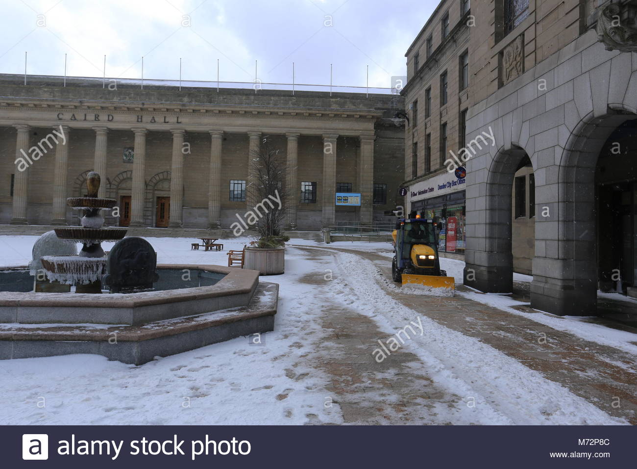 Frozen fountains and Caird Hall City Square Dundee Scotland  March 2018 - Stock Image