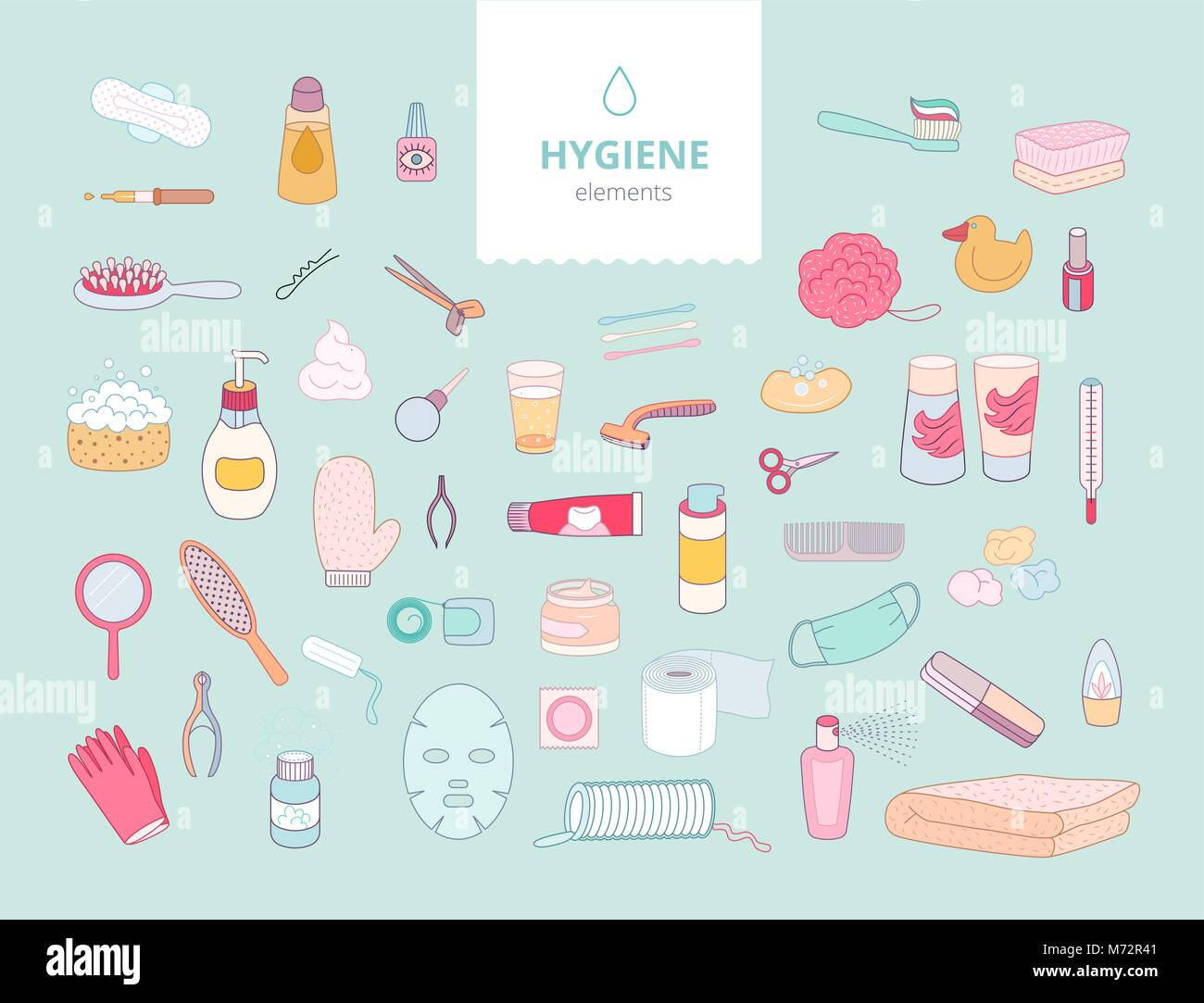The set of hygiene elements on green background, flat cartoon vector illustration - Stock Vector