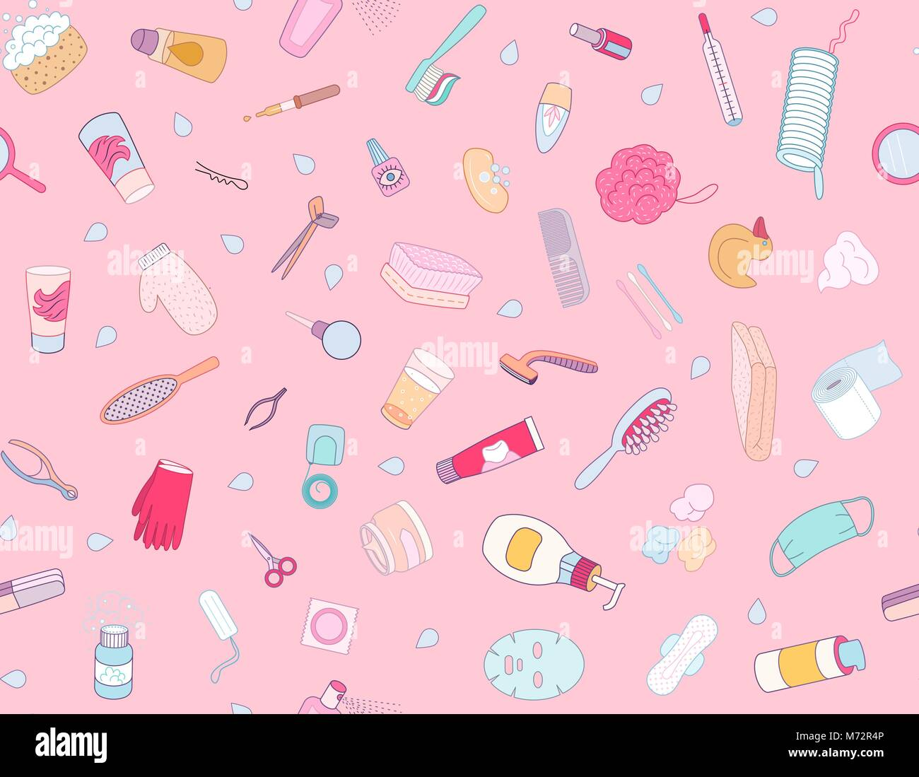 Hygiene elements seamless pattern on pink background, flat cartoon vector illustration - Stock Vector
