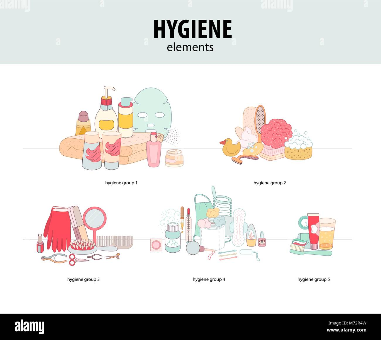 The set of hygiene grouped elements on white background, flat cartoon vector illustration - Stock Vector