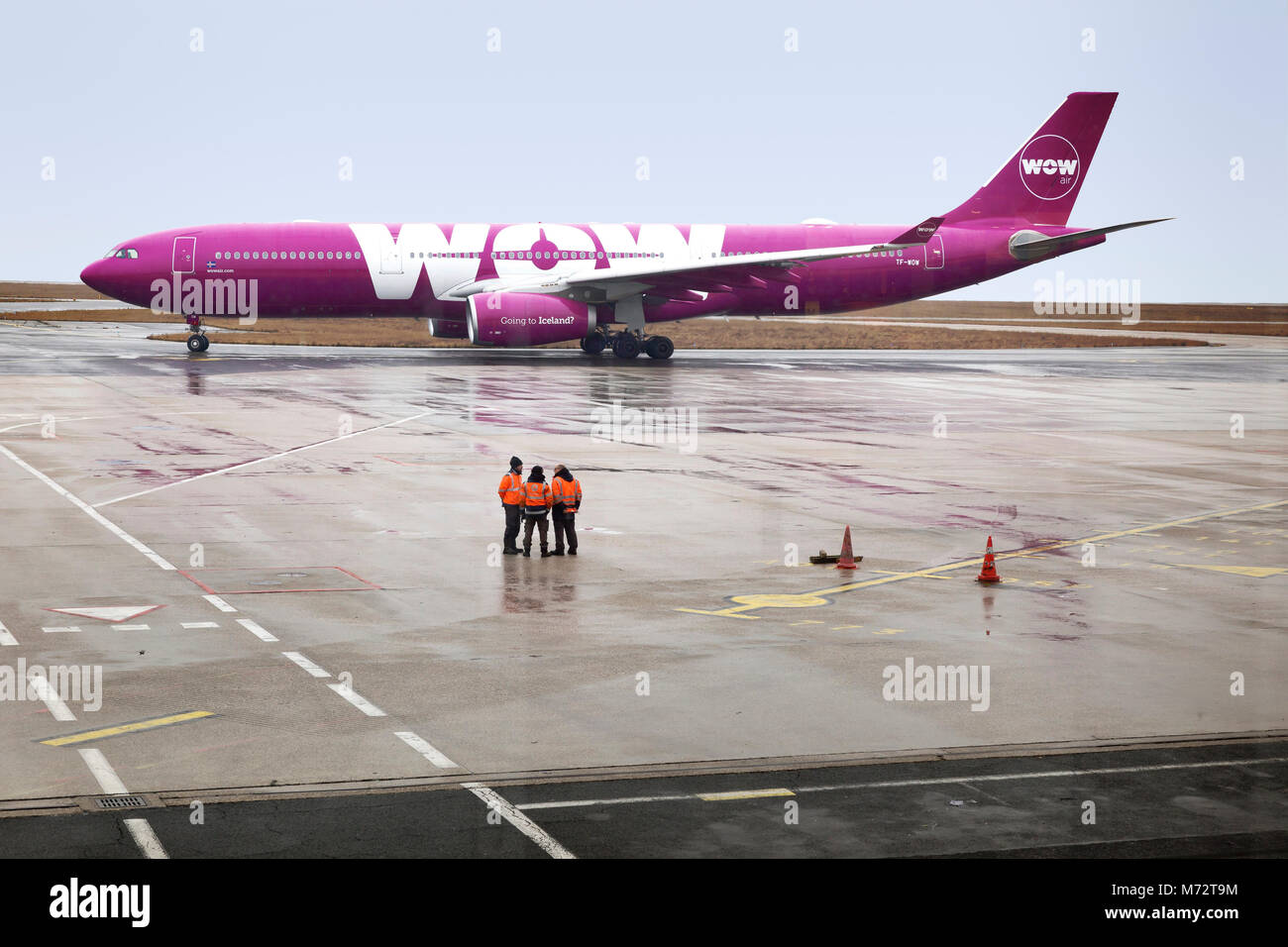 WOW Aribus passenger jet taxiing at Charles de Gaulle Airport in Paris, France.  WOW air was founded by Skuli Mogensen - Stock Image