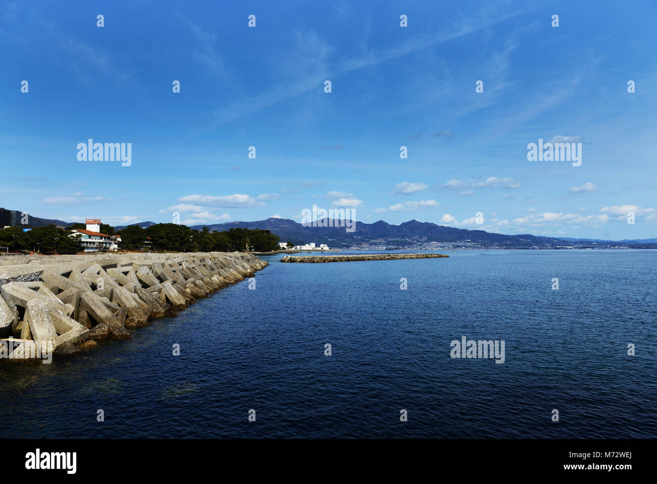A scenic coastline view in Beppu, Japan. - Stock Image