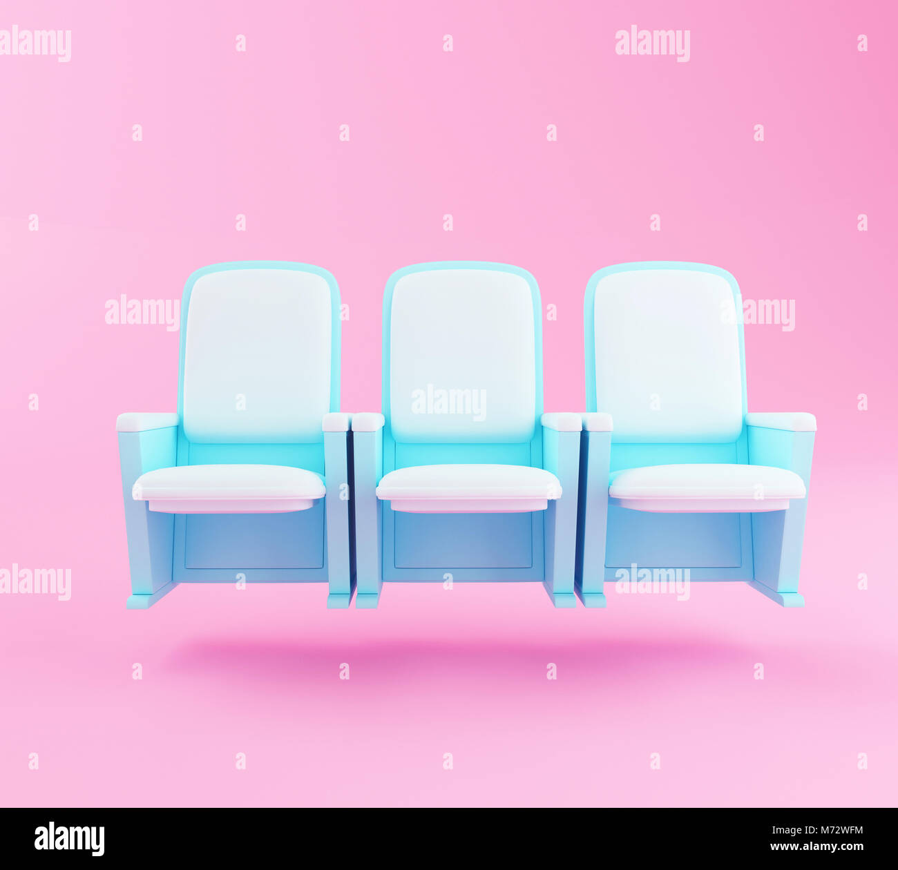 Picture of: 3d Illustration Cartoon Theater Seats On Pink Background Cinema And Stock Photo Alamy