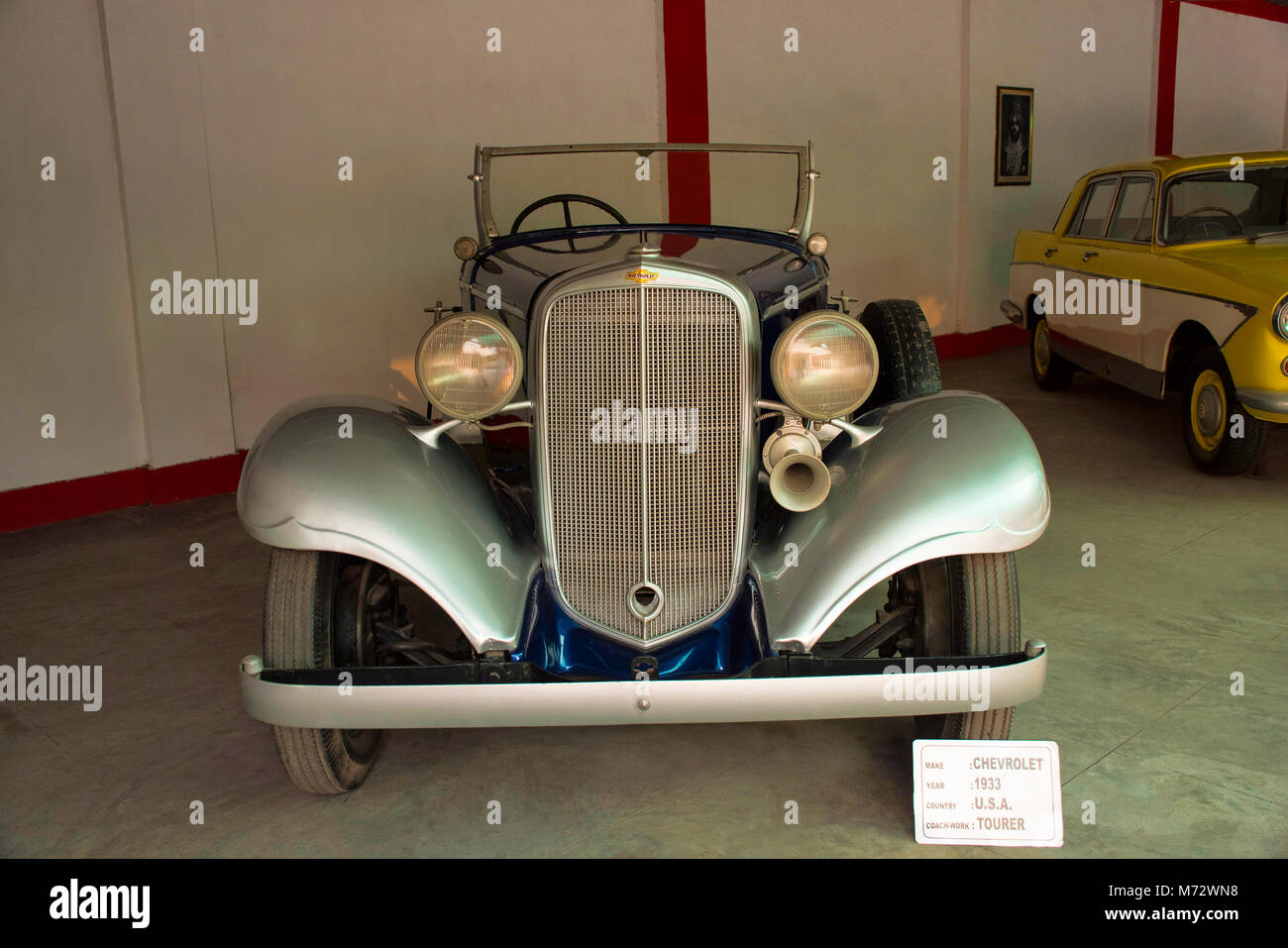 Chevrolet, gray colored vintage car in Auto World Vintage Car Museum of Ahmedabad Gujarat - Stock Image