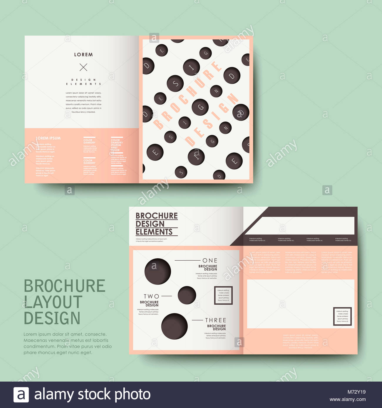 vector template of brochure design with repeat dot stock image
