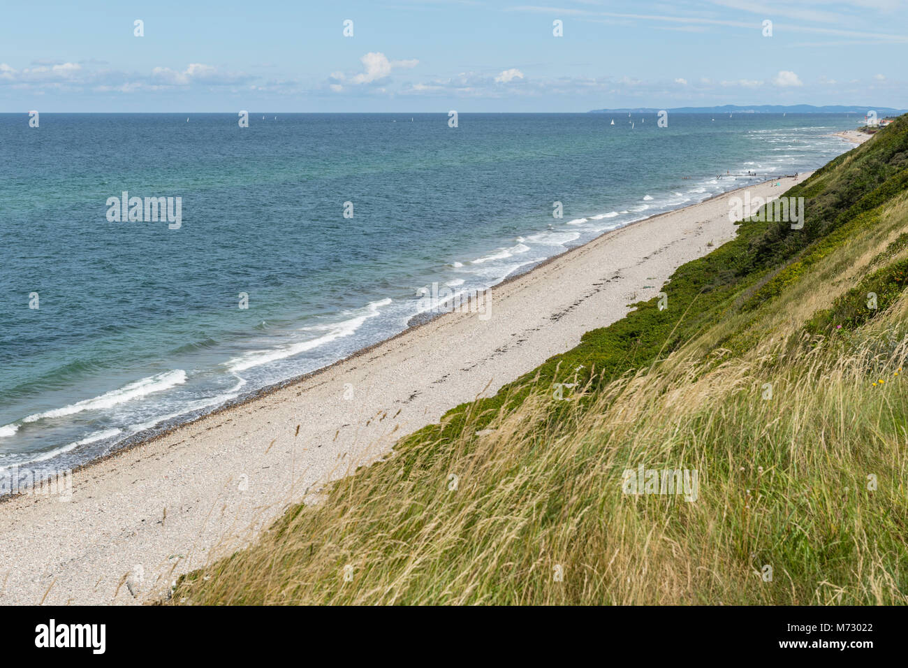 View from Heather Hill over the moraine cliff towards the Kattegat coast - Stock Image