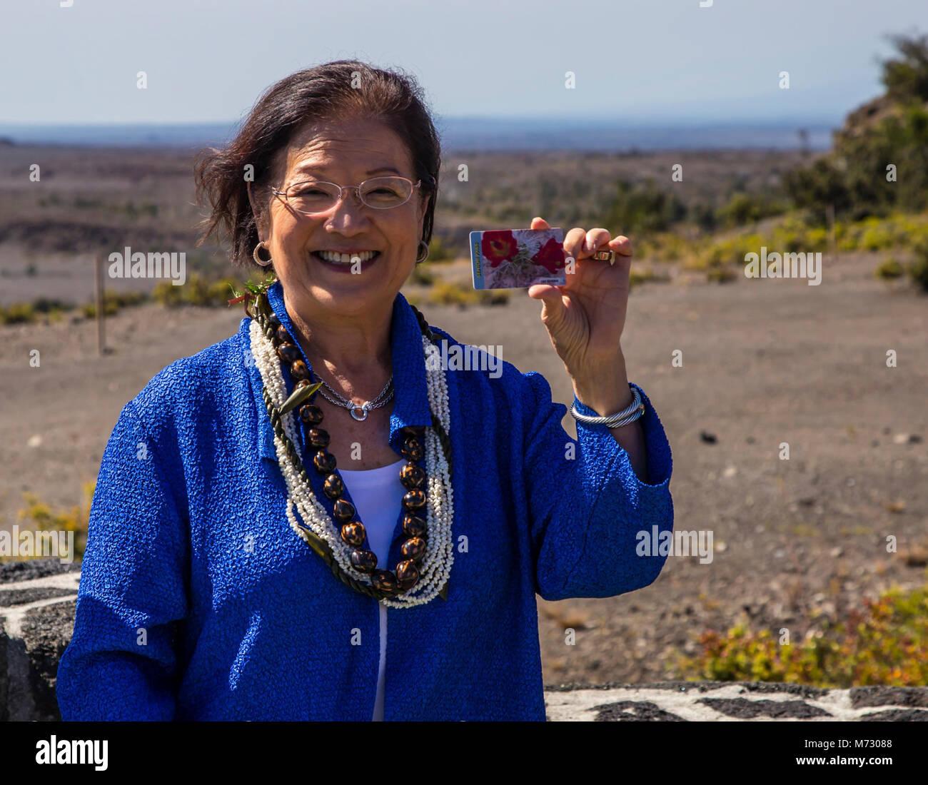 Senator Mazie K Hirono with her Ten Dollar Interagency Senior Pass . Stock Photo