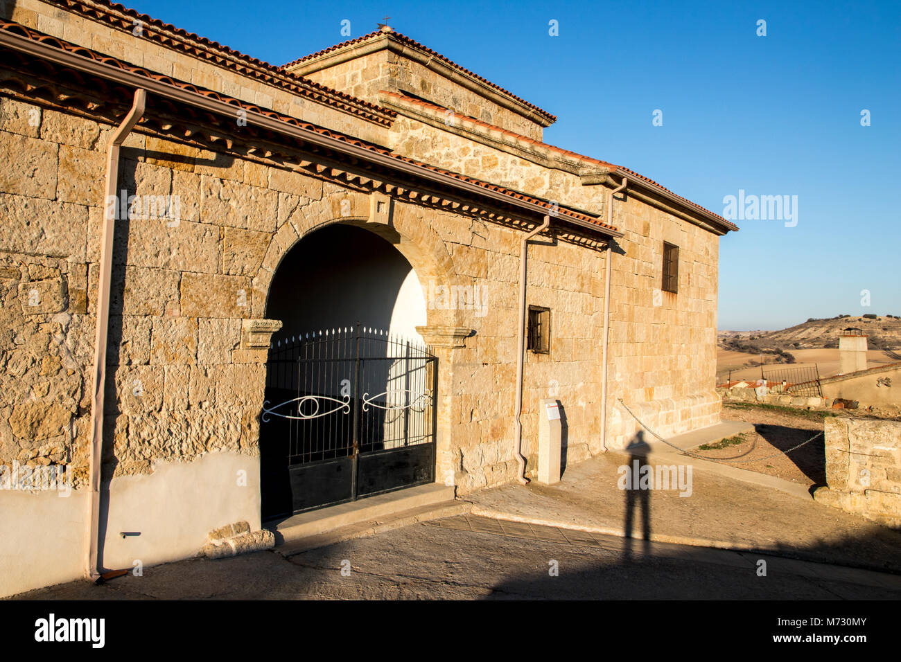 The Church of Our Lady of the Assumption (Iglesia de la Asuncion) in Peleas de Arriba, a small town in the Province - Stock Image