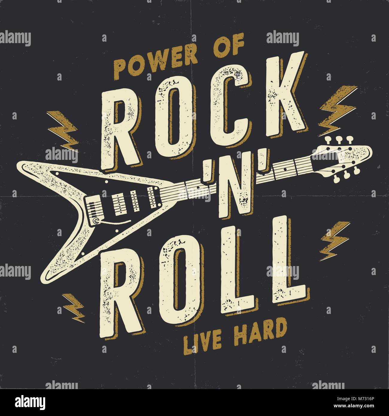 Vintage Hand Drawn Rock N Roll Poster Music Hard Tee Graphics Design T Shirt Power Of Quote