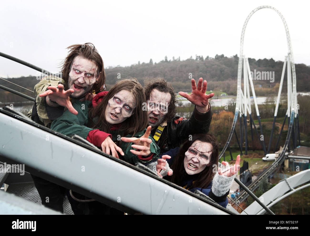 *** EMBARGOED TO 0001 Tuesday February 6 *** Scare actor candidates are auditioned at 127 feet in the air on The Stock Photo