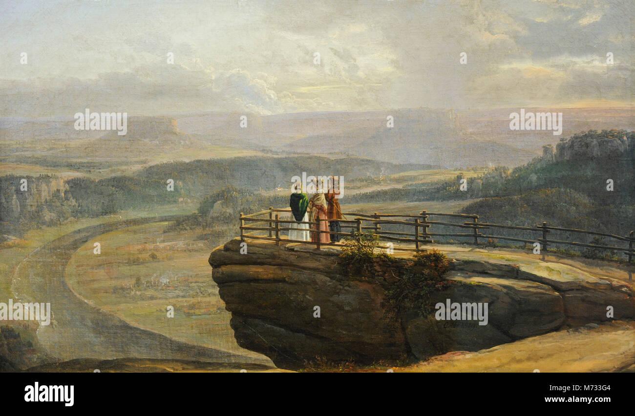 Johan Christian Dahl (1788-1857). Norwegian painter. View from Bastei, 1819. National Gallery. Oslo. Norway. Stock Photo