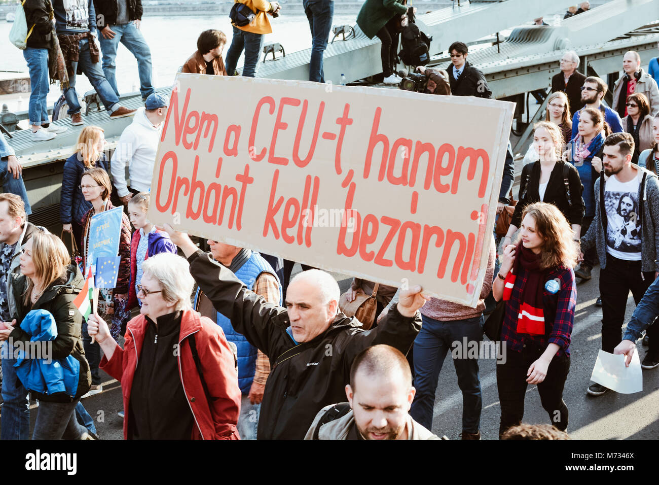 People protest against the bill that would undermine Central European University, a liberal graduate school of social - Stock Image