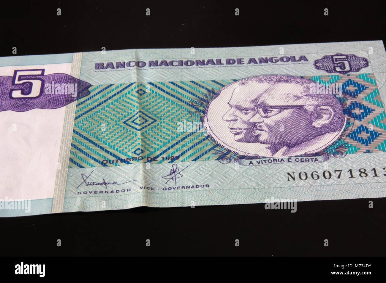 Banknote from Angola, five Kwanza. - Stock Image