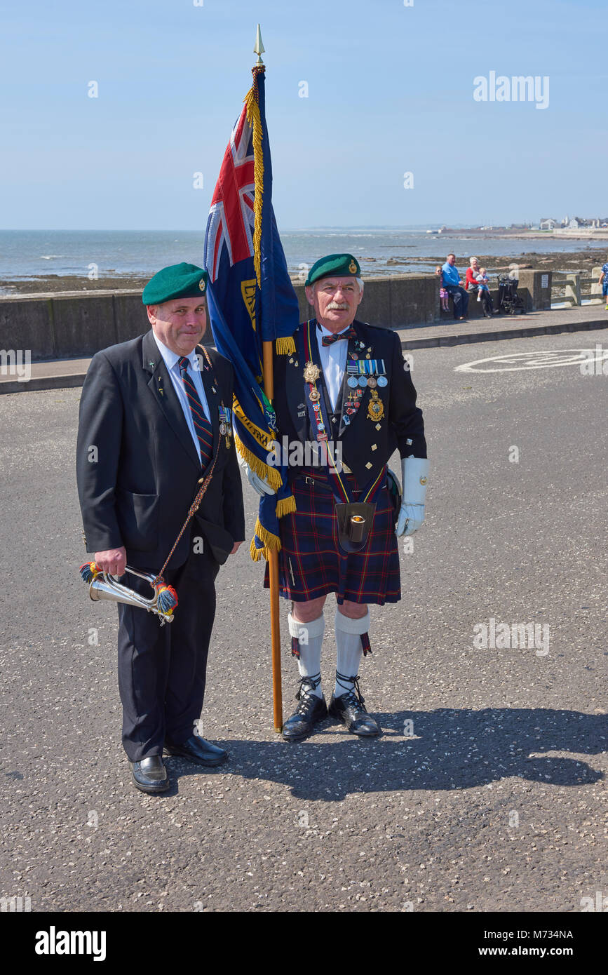 Two proud ex Royal Marines join the crowds at the festival of Heroes event held at Arbroath. - Stock Image