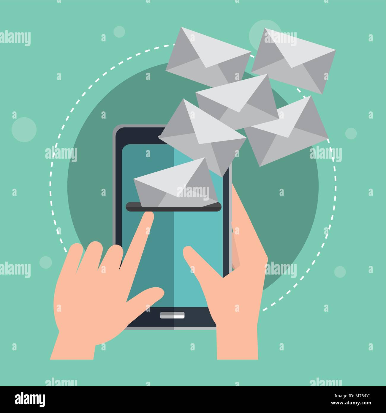 smartphone with emails envelopes - Stock Image