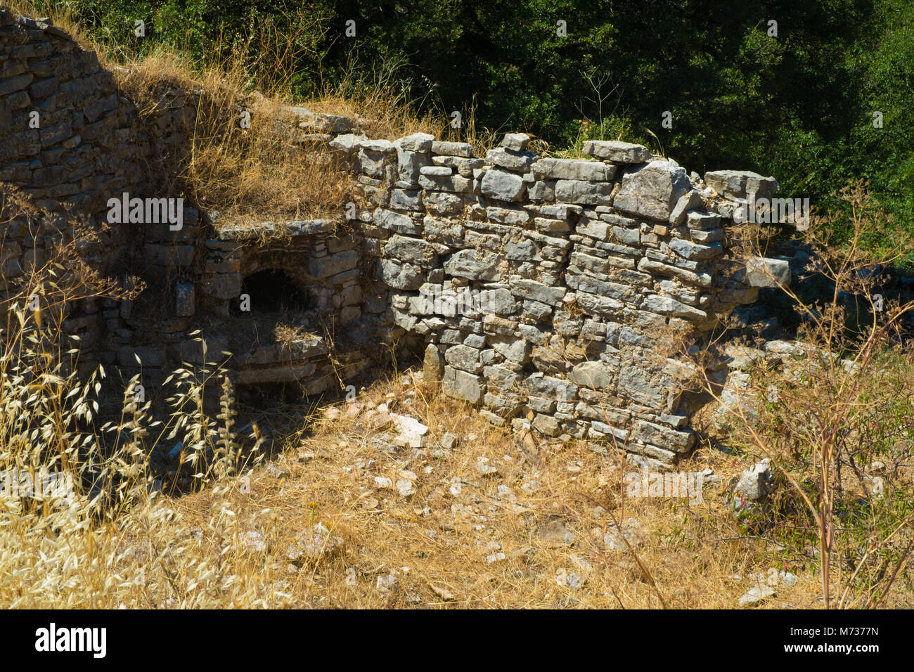 Old Perithia ancient archaeological site in Corfu - Stock Image
