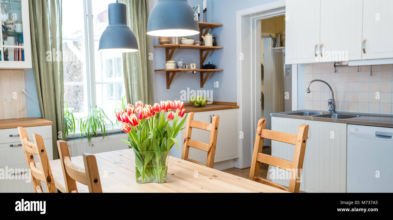 Banner Of Kitchen Interior With Tulips And Green Curtains Stock