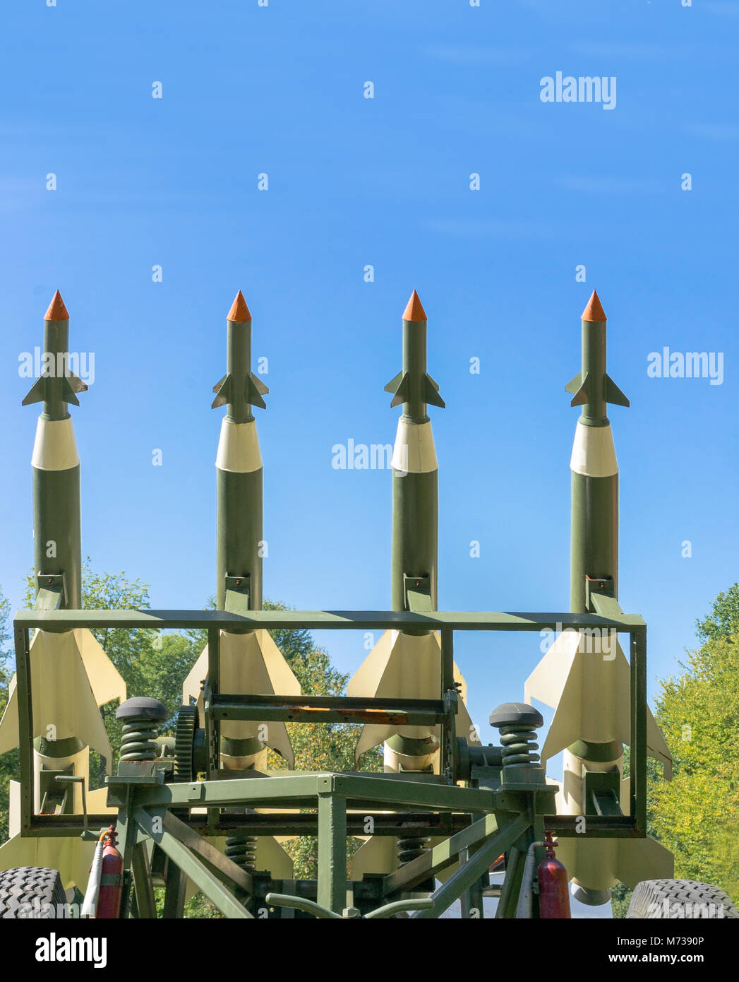 Nuclear Missiles With Warhead Aimed at Gloomy Sky. Balistic Rockets War Backgound. - Stock Image