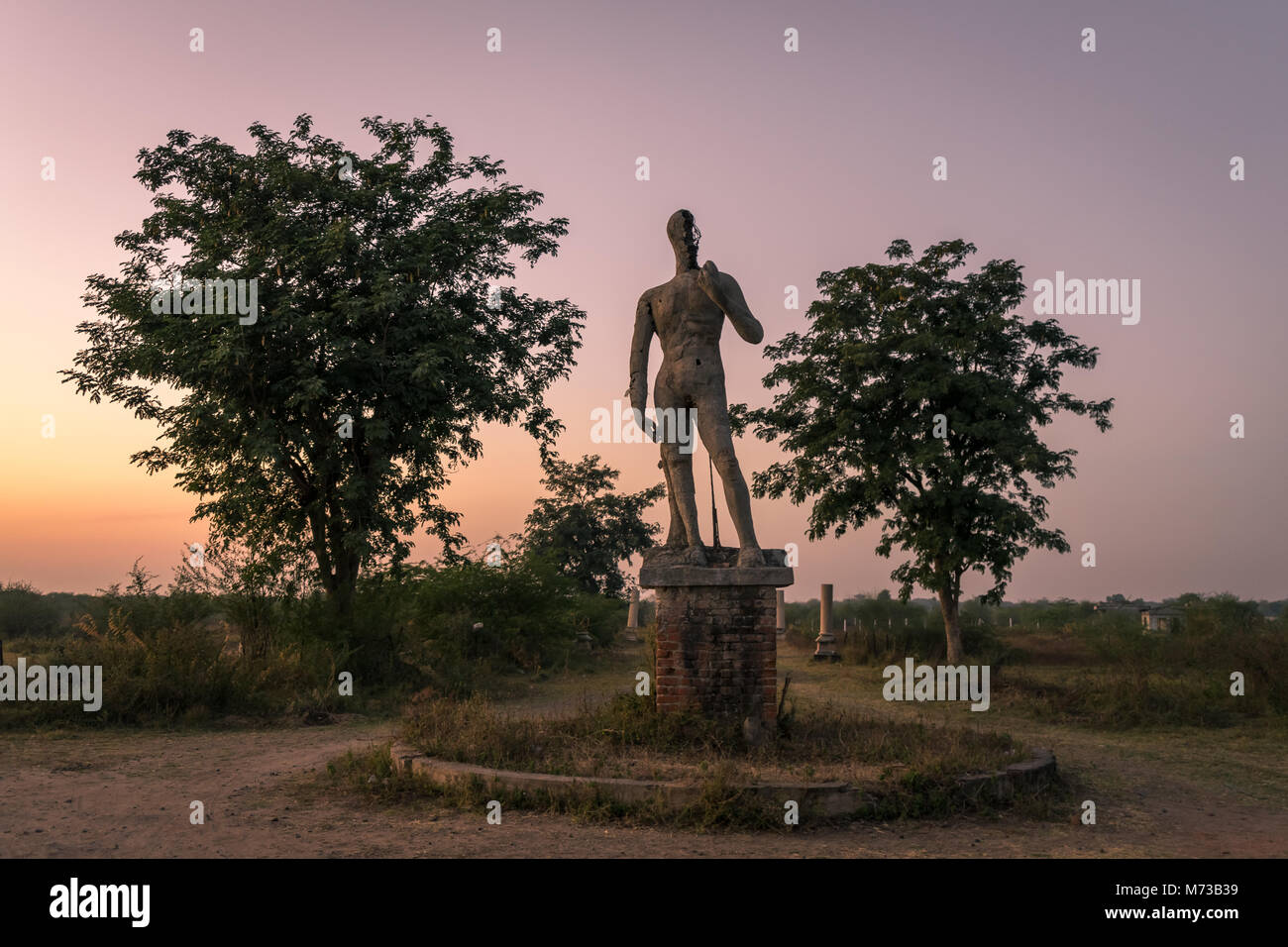 Abounded Sculpture at haunting township taken at Ahmedabad city of Gujarat, India. - Stock Image