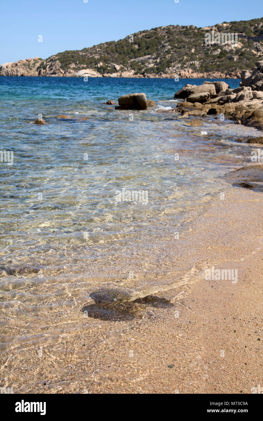 a view of the clear water of the Mediterranean sea in a quiet beach in the coast of Baja Sardinia, in the famous - Stock Image