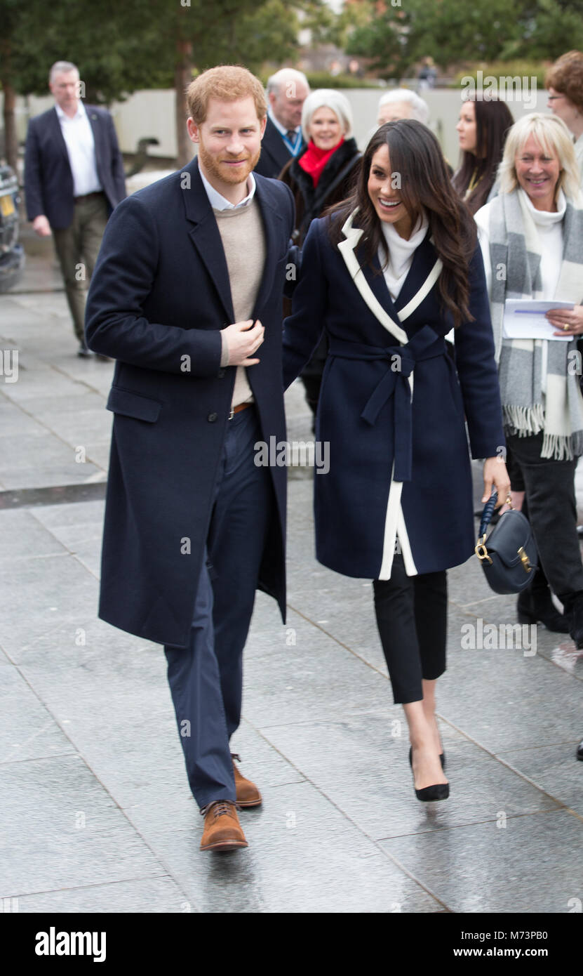 Prince Harry and Meghan Markle arrive at Millenium Point for International Women's Day in Birmingham, UK, March Stock Photo