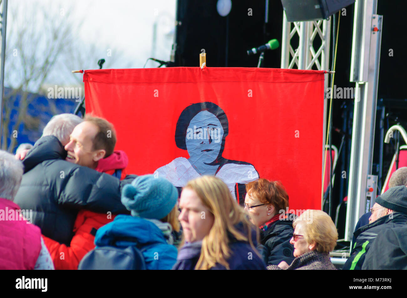 Glasgow, Scotland, UK. 8th March, 2018: On International Women's Day a Statue of Mary Barbour was unveiled in - Stock Image
