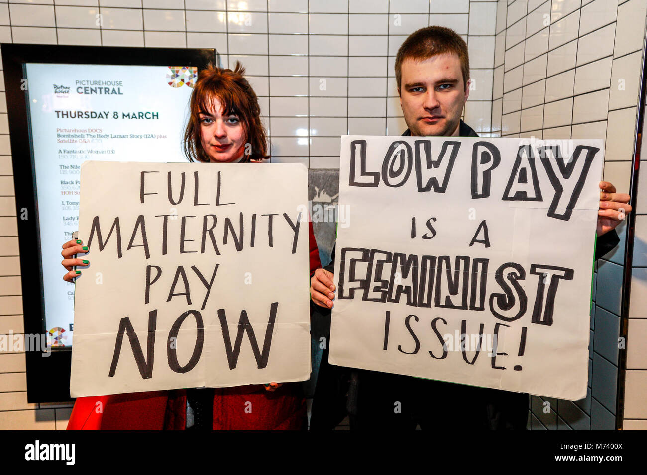London, UK. 8th Mar, 2018. International Women's Day 2018 - Strike at Picture House Central - London - 2018 - Stock Image